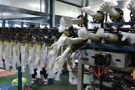Rubber gloves production line