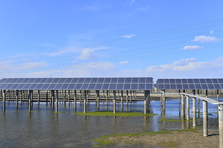 Solar panels with green energy