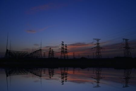 The power supply facilities of contour in the evening