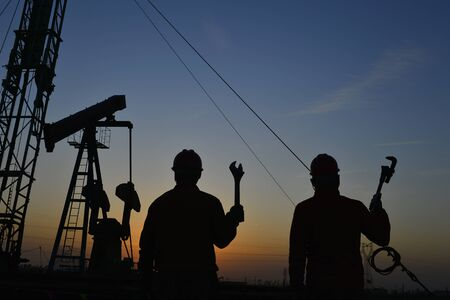 The oil workers in the job