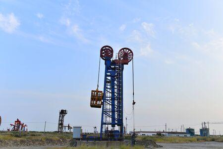Oil pump working in the outdoor scene