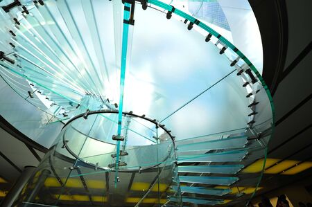 Modern glass stair outline walking man in Shanghai, China