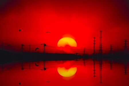 At sunset the sun Imagens