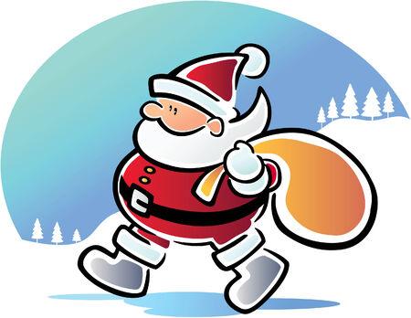 Walking Santa Illustration