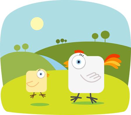 pollo caricatura: Caricatura de pollo con los ojos grandes  Vectores