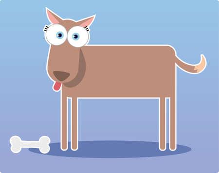 Cartoon Brown dog with big eye