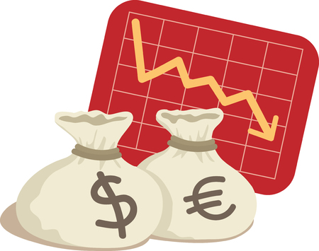 Bag of Dollar and Euro with Chart Down Illustration
