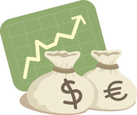 dinero euros: Bolsa de d�lar y el euro con el gr�fico Up  Vectores