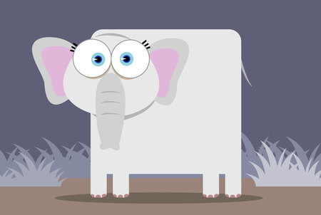 Cartoon Elephant with big eye