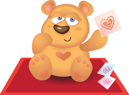 Bear playing Heart Card on Red Carpet Illustration
