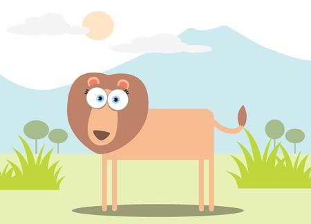 Cartoon Lion with Big Eye