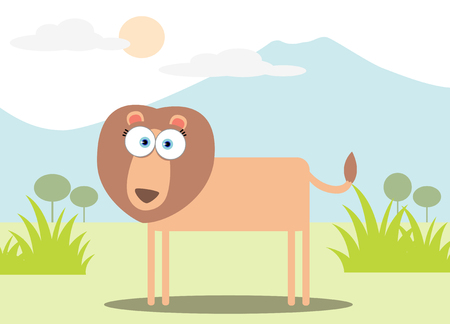 Cartoon Lion with Big Eye Vector