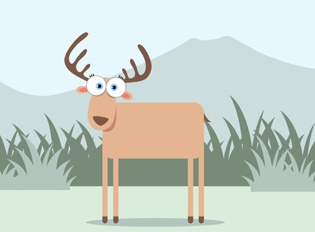 Cartoon Deer with Big Eye