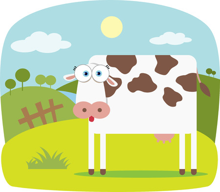 Cartoon Cow with Big Eye