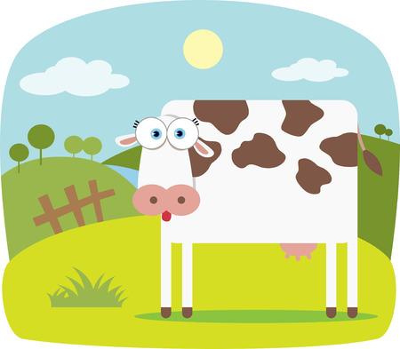 vaca caricatura: Cartoon vaca con grandes ojos