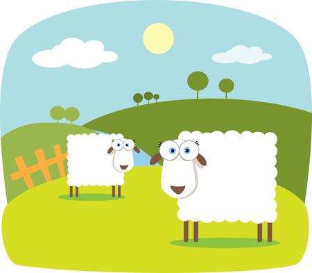 mouton cartoon: Cartoon moutons avec de grands yeux