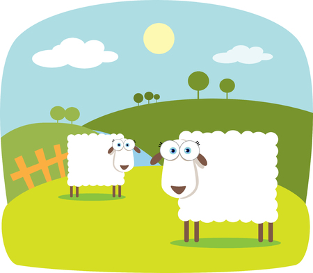Cartoon Sheep with Big Eye