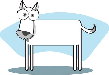 Cartoon Dog with big eye in Black and White