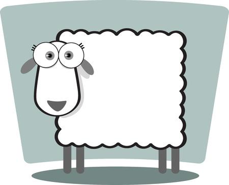 Cartoon Sheep with big eye in Black and White