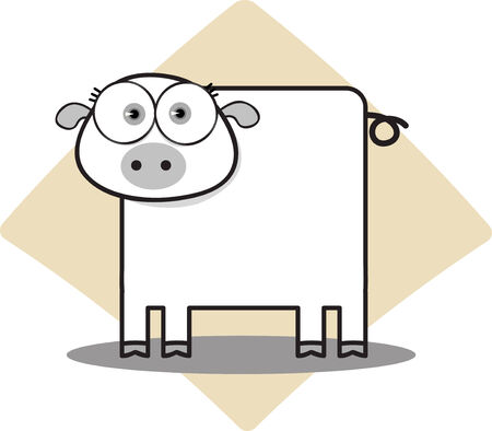 Cartoon Pig with Big Eye in Black and White Illustration