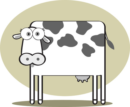 cute cow: Cartoon Cow with big eye in Black and White