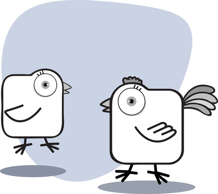 black and white farm: Cartoon Chicken with big eye in Black and White Illustration