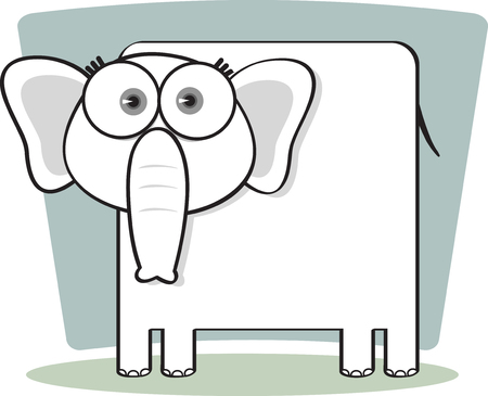 Cartoon Elephant with big eye in Black and White Illustration