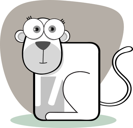 Cartoon Monkey with big eye in Black and White