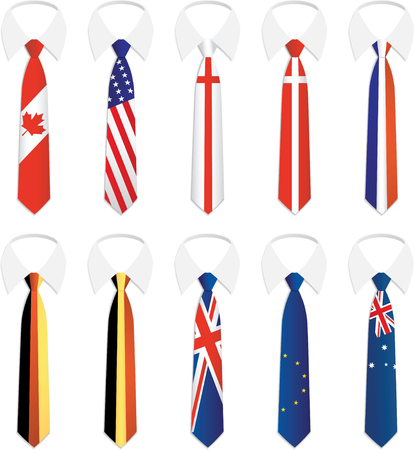 neckties: Illustration of Nationality Tie collection 1 Illustration