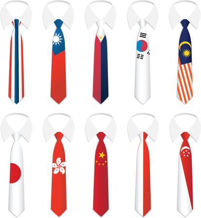 south korea flag: Illustration of Nationality Tie collection 3 Editorial