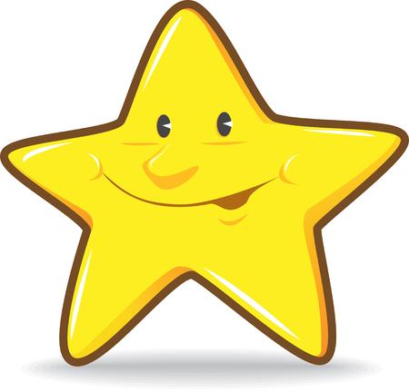 Illustration of Yellow Smiling Star Illustration
