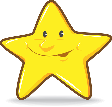 Illustration of Yellow Smiling Star Illustration