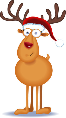 Christmas Reindeer with hat Illustration