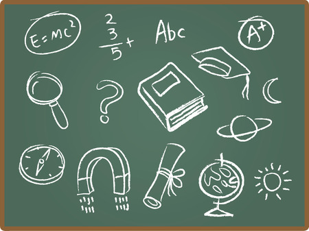 Illustration Set of school icons on chalkboard Stock Illustratie