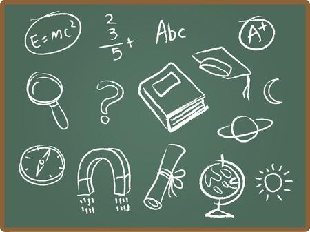 Illustration Set of school icons on chalkboard Illustration