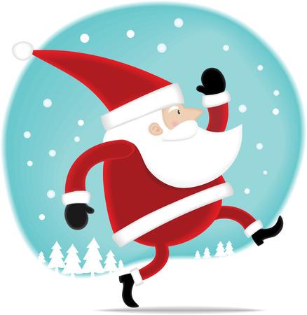 Illustration Happy Santa walking on the snow