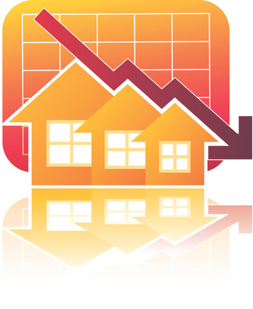 uptrend: Illustration of Real Estate Chart Down