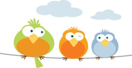 Illustration Three Bird on wire