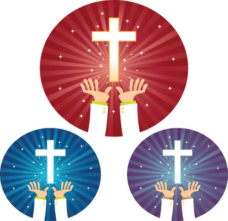 hoping: Illustration of Hands hoping for Cross