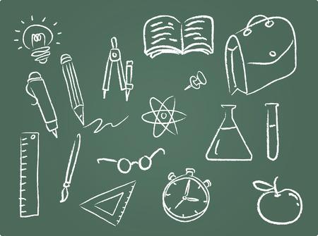 Illustration Set of school icons on chalkboard Stock Vector - 4714683