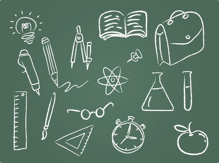 Illustration Set of school icons on chalkboard Illustration