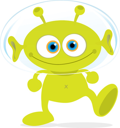 Cartoon Illustration of Walking Green Alien Illustration