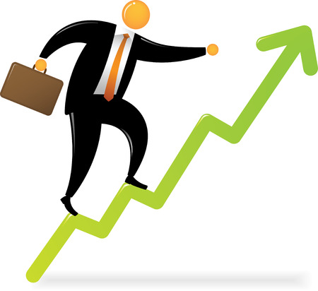 Orange Head Man with black suit climbing on Chart Graphic