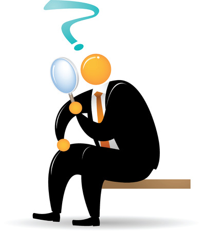 Orange Head Man with black suit sitting and using magnifying glass Stock Illustratie