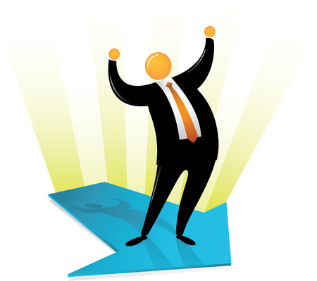 Orange Head Man with black suit, standing on arrow and rising his hand