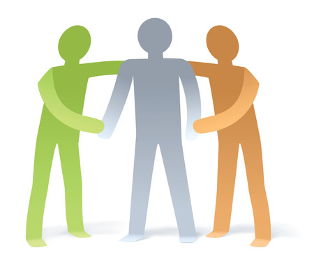 encourage: Illustration of 2 man give support to 1 man