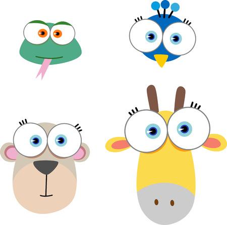 jirafa caricatura: Ilustraci�n de dibujos animados con la cara de los animales de ojos grandes