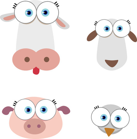 Cartoon Illustration of Animal Face with big eye