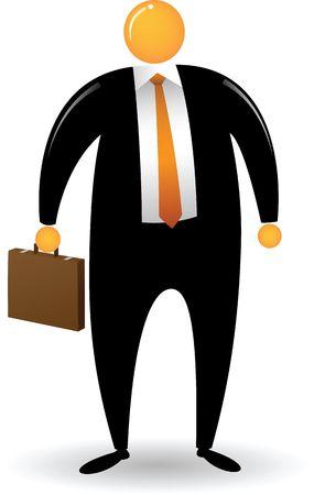 Orange Head Man with black suit bring a briefcase Stock Photo - 4722217