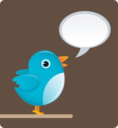 illustration of Twitter Bird with brown background Stock Illustratie
